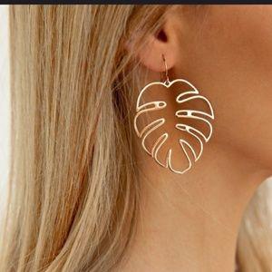 Gold Tone Palm Leaf Earrings